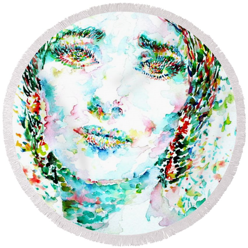 Maria Round Beach Towel featuring the painting Maria Callas - Watercolor Portrait.1 by Fabrizio Cassetta
