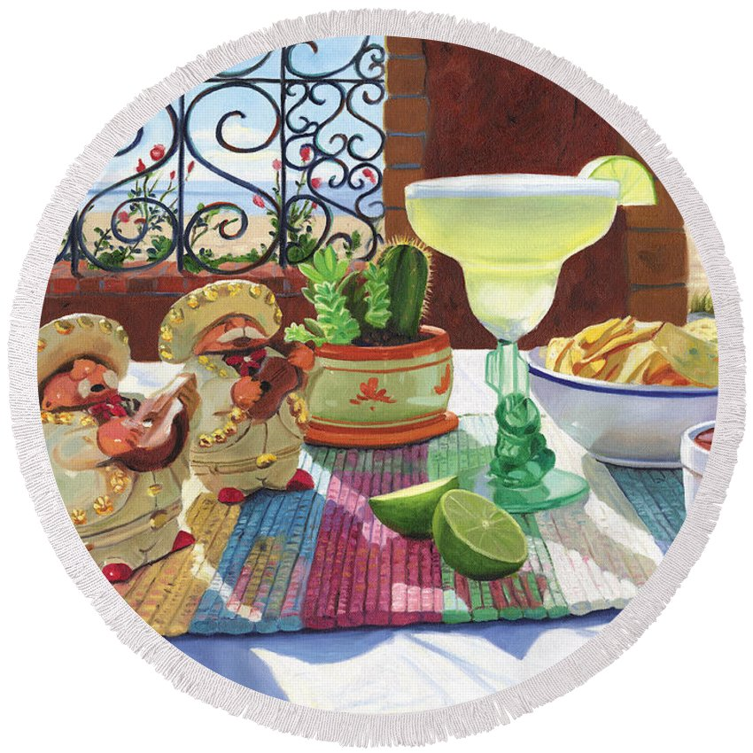 Cocktail Round Beach Towel featuring the painting Mariachi Margarita by Steve Simon