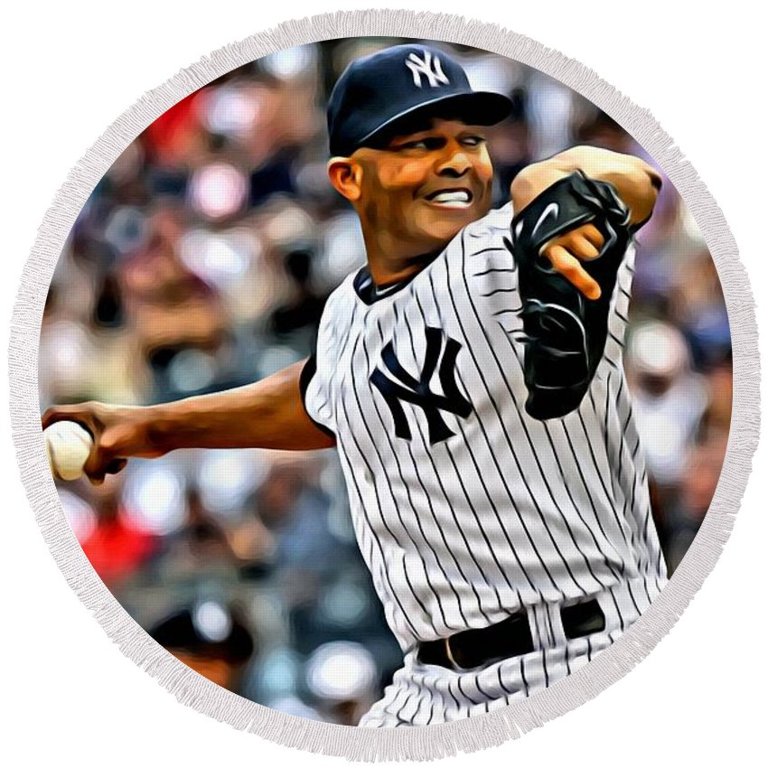Mlb Round Beach Towel featuring the painting Mariano Rivera Painting by Florian Rodarte