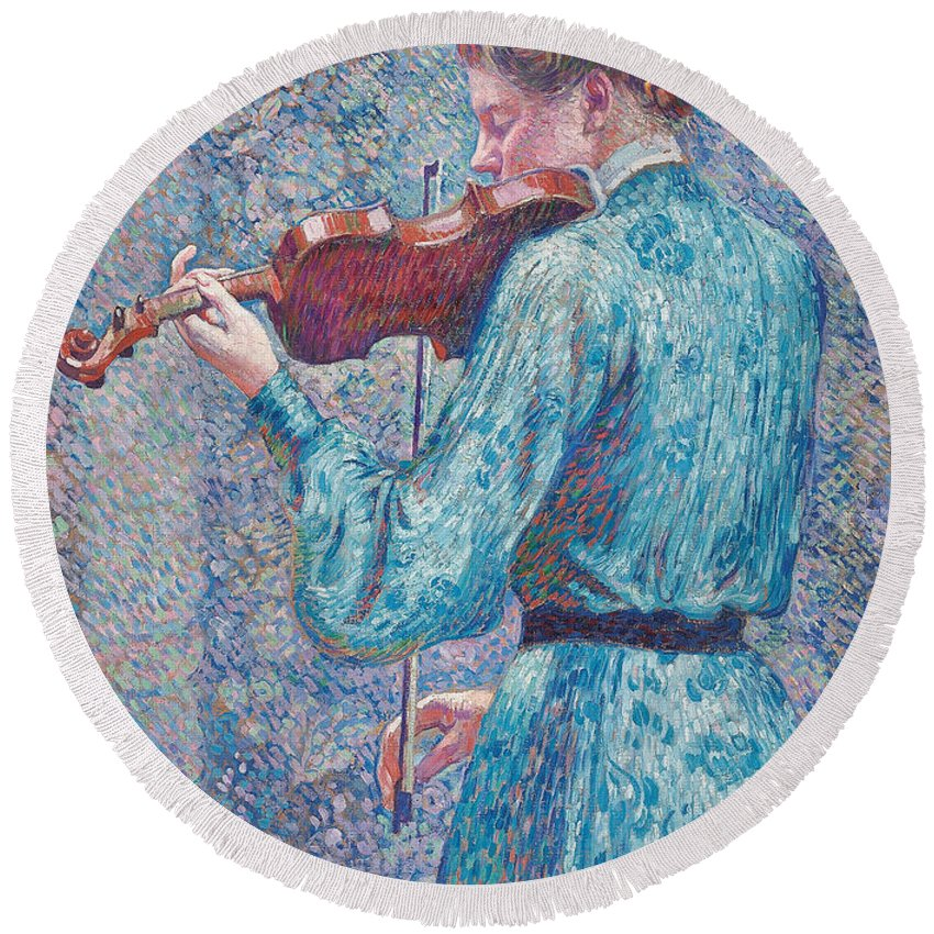 Marie-anne Weber Playing The Violin Round Beach Towel featuring the painting Marie Anne Weber Playing The Violin by Theo van Rysselberghe