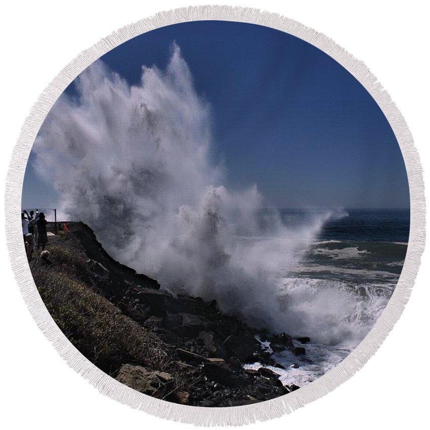 Hurricane Round Beach Towel featuring the photograph Maries Power by Michael Gordon