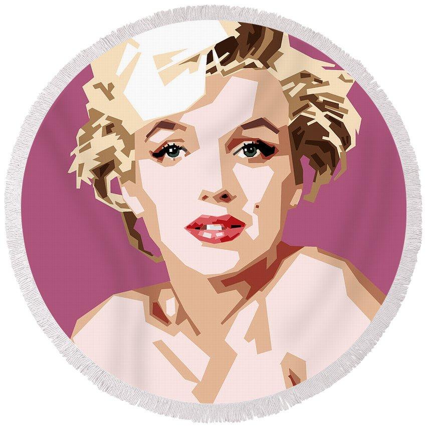 Digital Painting Of Movie Star Marilyn Monroe Round Beach Towel featuring the digital art Marilyn by Douglas Simonson