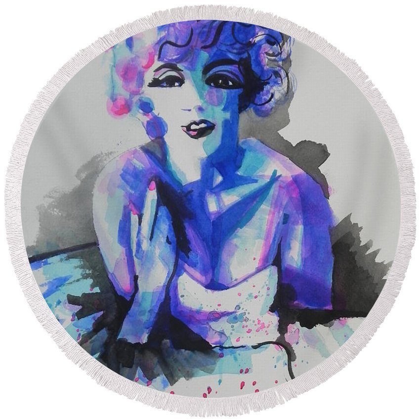 Watercolor Painting Round Beach Towel featuring the painting Marilyn Monroe 03 by Chrisann Ellis