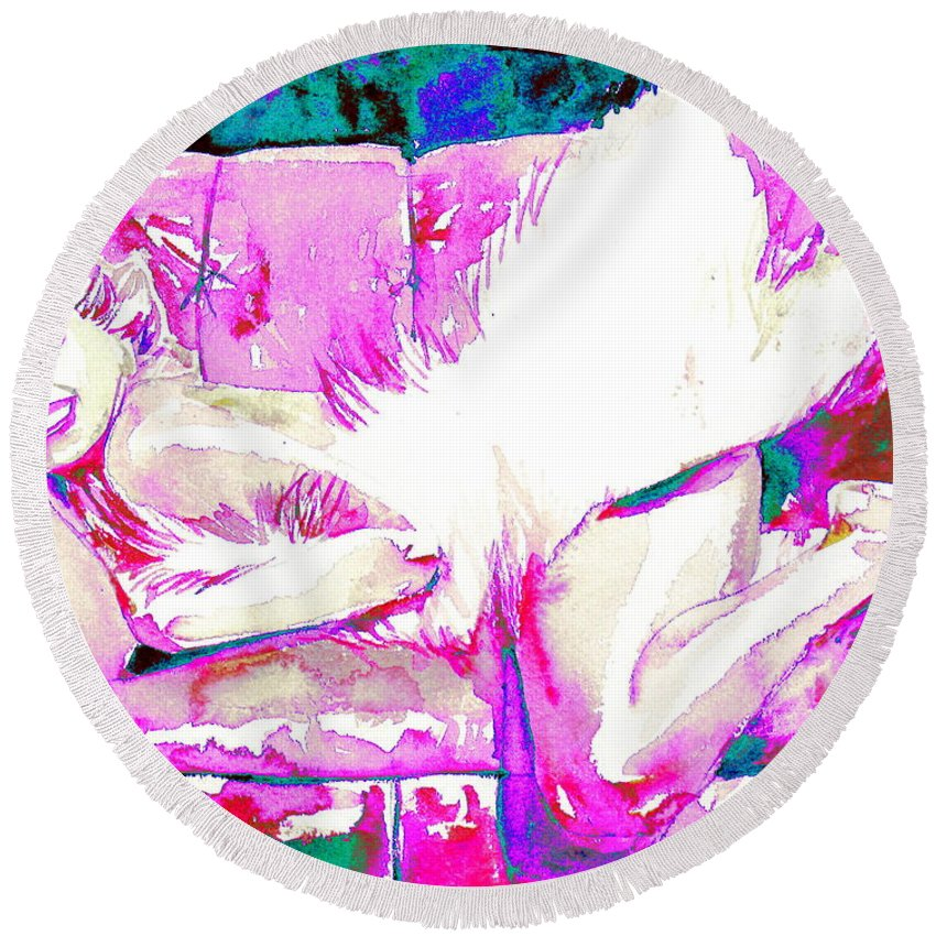Marilyn Monroe Round Beach Towel featuring the painting Marilyn Monroe Portrait.8 by Fabrizio Cassetta