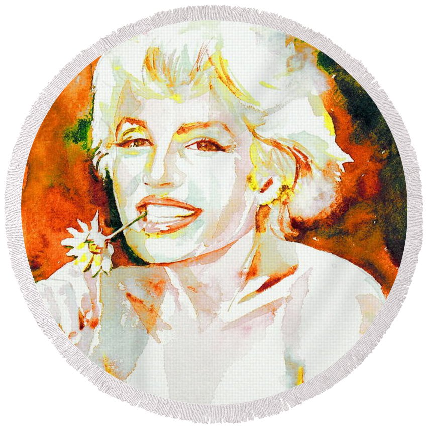 Marilyn Monroe Round Beach Towel featuring the painting Marilyn Monroe Portrait.9 by Fabrizio Cassetta