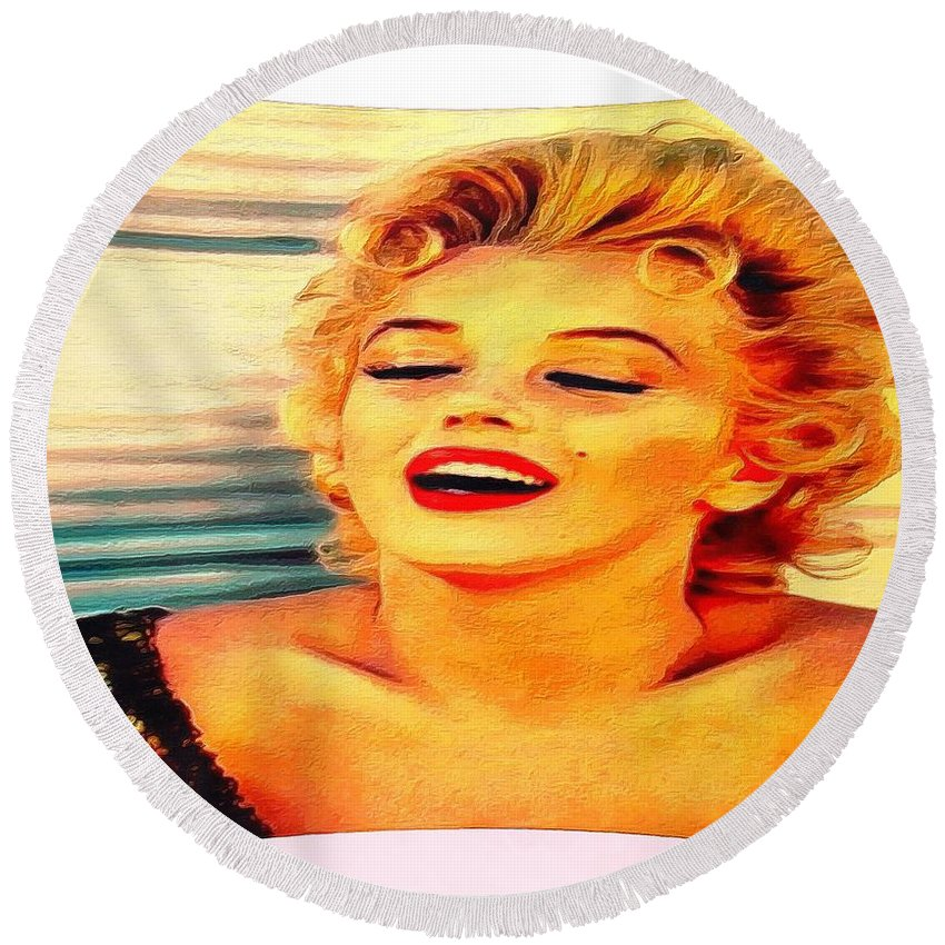 Marilyn Monroe Tribute Silked Curves Round Beach Towel featuring the digital art Marilyn Monroe Tribute Silked Curves by Catherine Lott