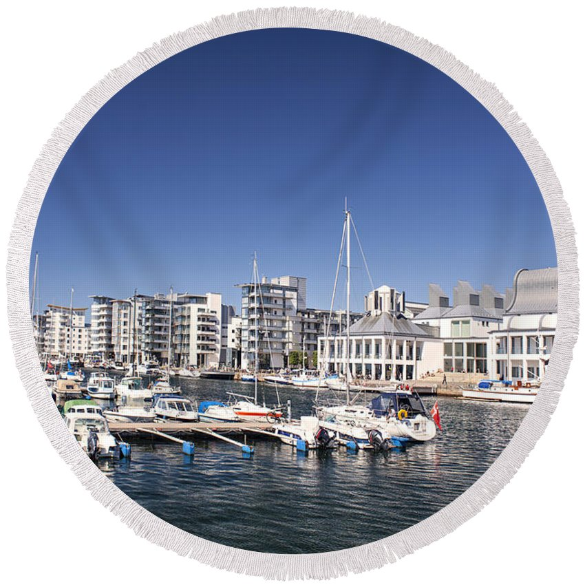 Harbour Round Beach Towel featuring the photograph Marina by Sophie McAulay
