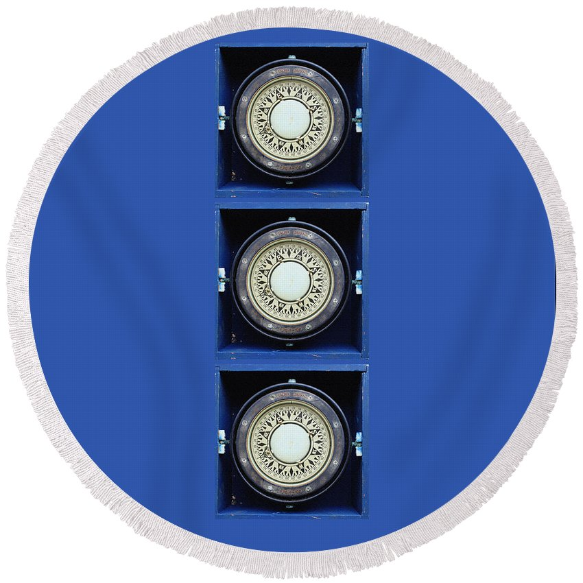Mariners Compass Blue Round Beach Towel featuring the photograph Mariners Compass Blue by Barbara Griffin