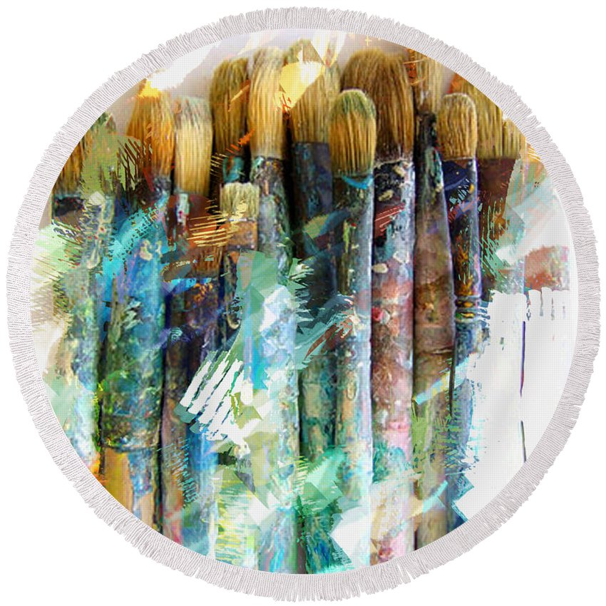 Artist Brushes Paint Tools Grunge Abstract Still+life Messy Artistic Painting Sketch Round Beach Towel featuring the painting Marker Sketch Of Artist's Brushes by Elaine Plesser