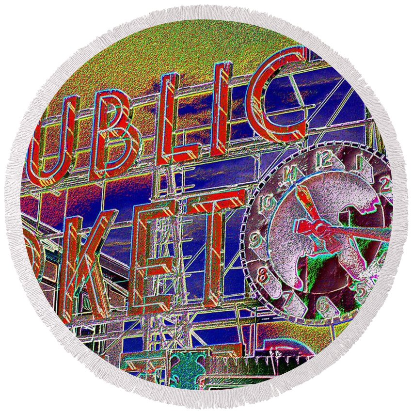 Seattle Round Beach Towel featuring the digital art Market Clock 1 by Tim Allen
