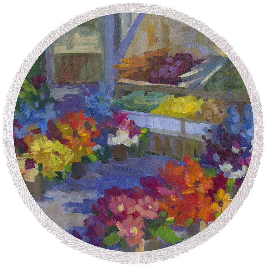 Flower Market Round Beach Towel featuring the painting Market Day by Diane McClary