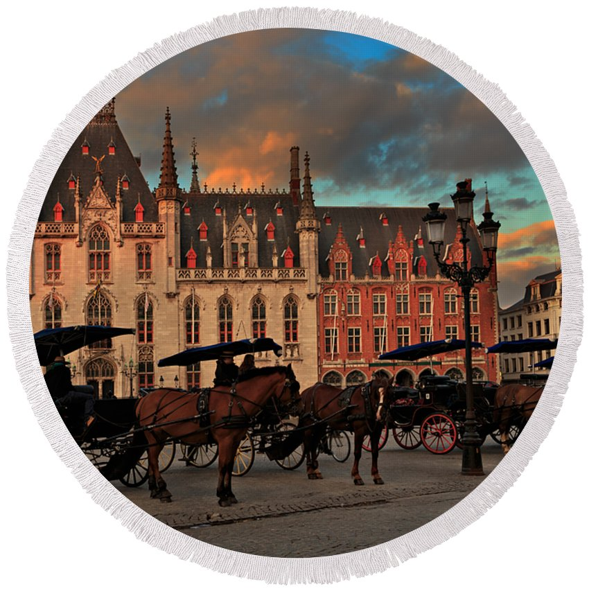 Markt Round Beach Towel featuring the photograph Markt Square At Dusk In Bruges by Louise Heusinkveld