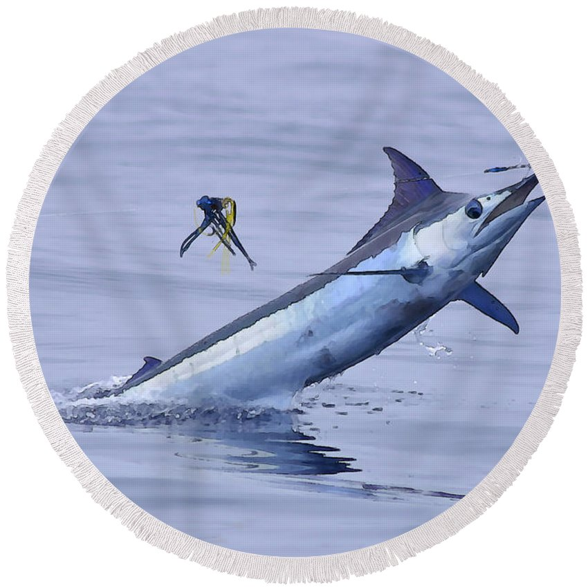 Marlin Paintings Round Beach Towel featuring the photograph Marlin Magic by Bryan Toney