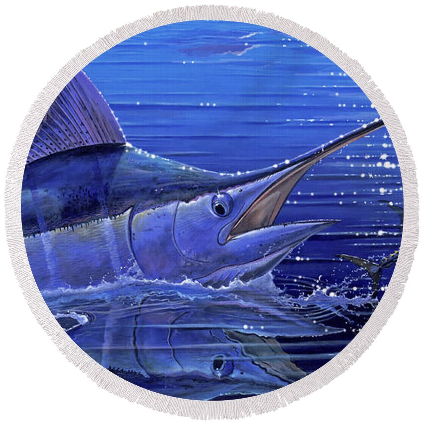 Marlin Round Beach Towel featuring the painting Marlin Mirror Off0022 by Carey Chen