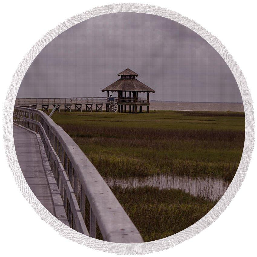 Texas Round Beach Towel featuring the photograph Marsh Boardwalk by JG Thompson