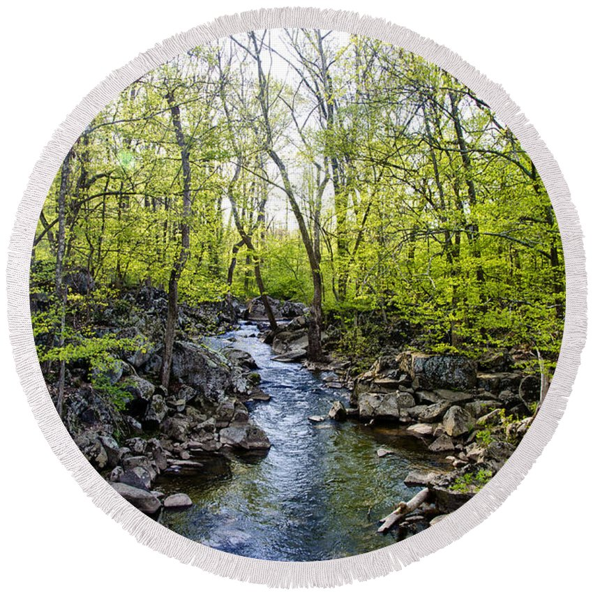 Marsh Round Beach Towel featuring the photograph Marsh Creek In Spring by Bill Cannon