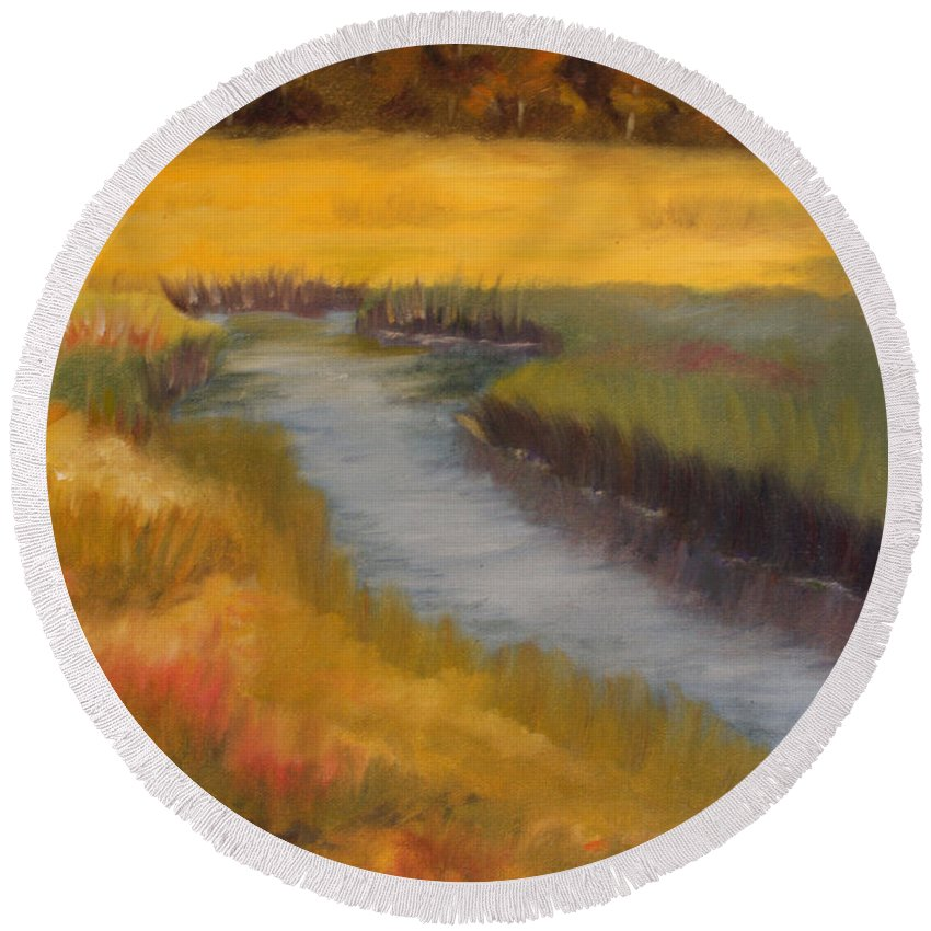 Coastal Round Beach Towel featuring the painting Marsh Mellow by Jill Ciccone Pike