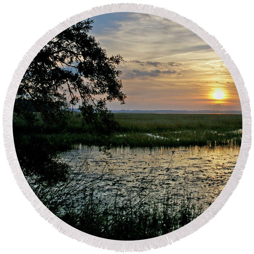 Sunrise Round Beach Towel featuring the photograph Marsh View by Phill Doherty