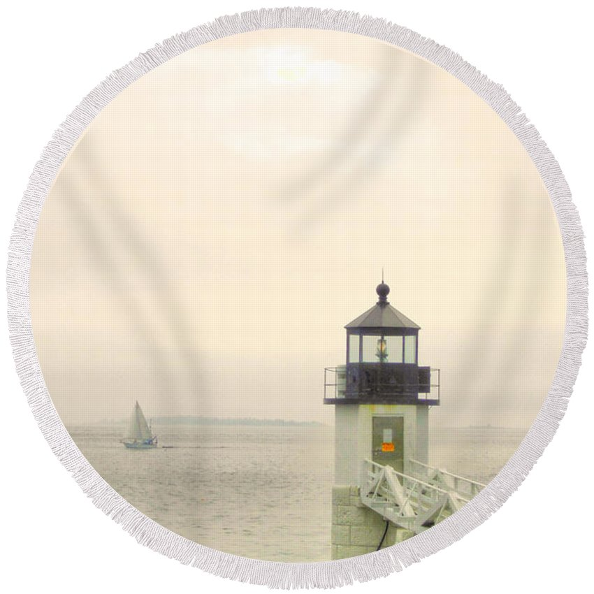 Marshall Point Round Beach Towel featuring the photograph Marshall Point Lighthouse In Maine by Denyse Duhaime