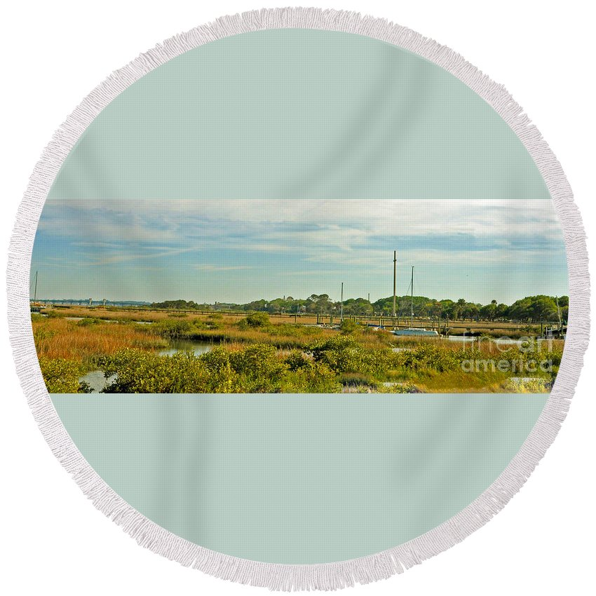 St. Augustine Round Beach Towel featuring the photograph View Of St. Augustine's Cross by Lydia Holly