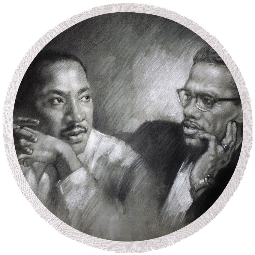 Malcolm X Round Beach Towel featuring the drawing Martin Luther King Jr And Malcolm X by Ylli Haruni