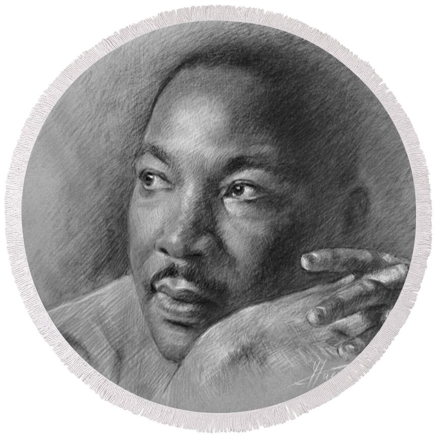 Portrait Round Beach Towel featuring the drawing Martin Luther King Jr by Ylli Haruni