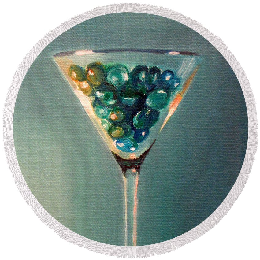 Martini Round Beach Towel featuring the painting Martini Glass by Sarah Parks