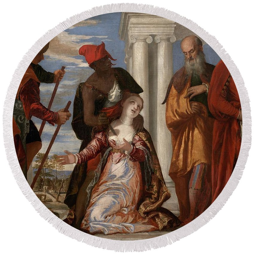 1570-1575 Round Beach Towel featuring the painting Martyrdom Of Saint Justina by Paolo Veronese
