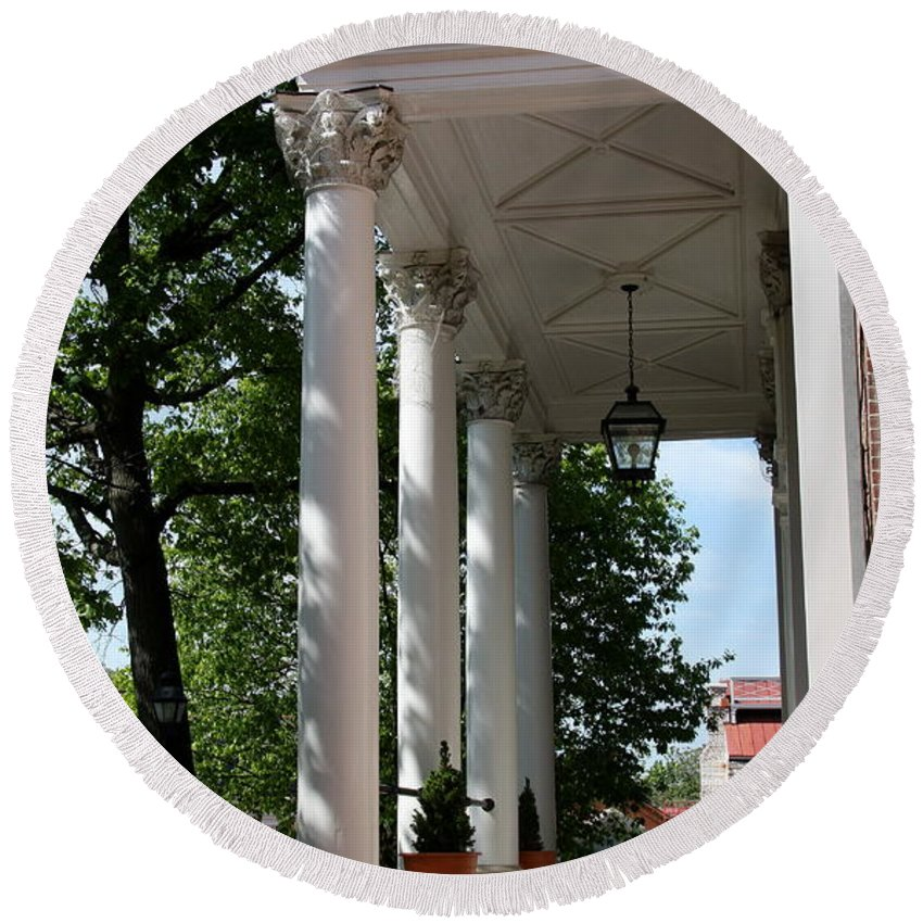 Columns Round Beach Towel featuring the photograph Maryland State House Columns by Christiane Schulze Art And Photography