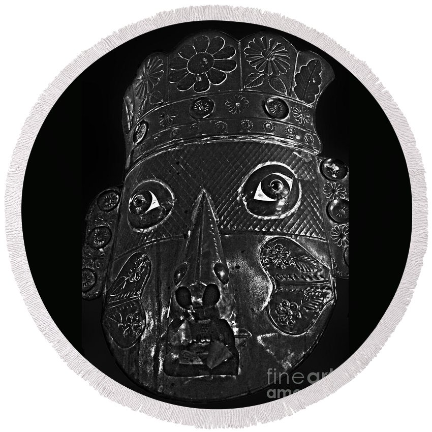 Mask Round Beach Towel featuring the photograph Mask by Cassandra Buckley