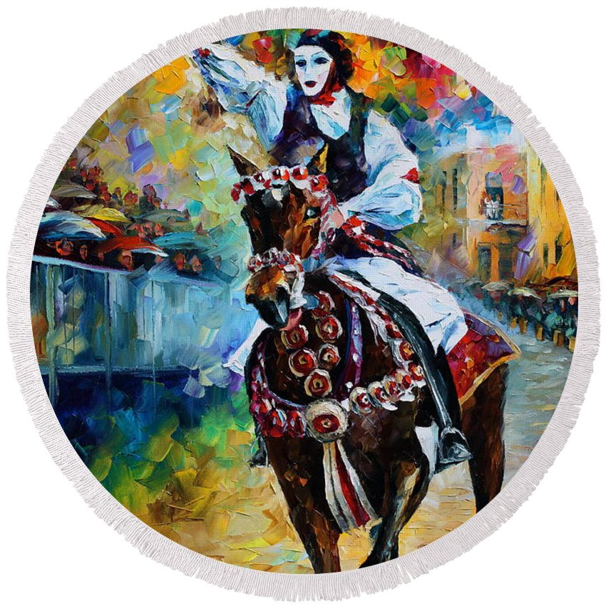 Afremov Round Beach Towel featuring the painting Masked Horseman by Leonid Afremov