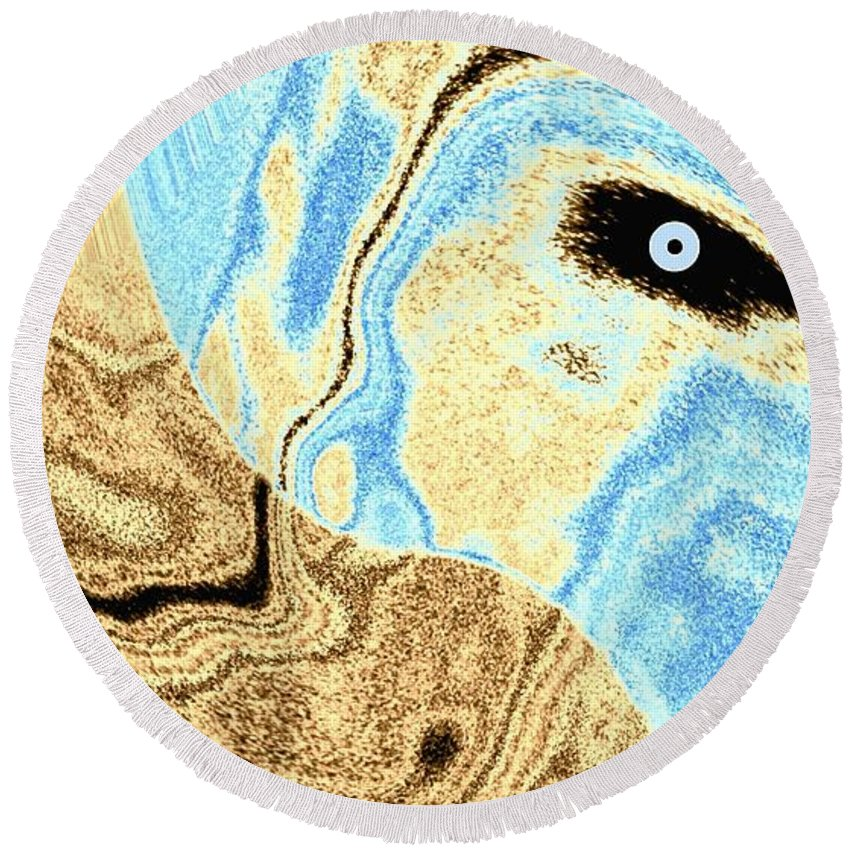 Masked- Man Abstract Round Beach Towel featuring the digital art Masked- Man Abstract by Will Borden