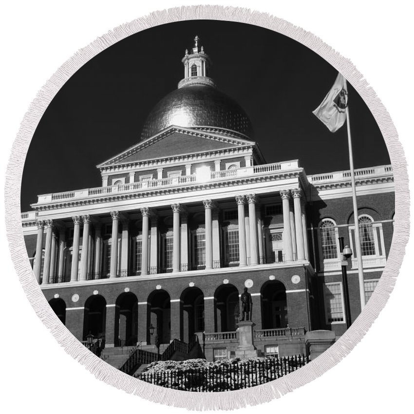 Boston Round Beach Towel featuring the photograph Massachusetts State House by Mountain Dreams