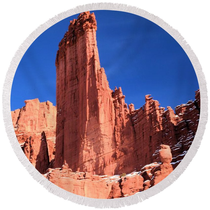 Fisher Towers Round Beach Towel featuring the photograph Massive Fisher Tower by Adam Jewell