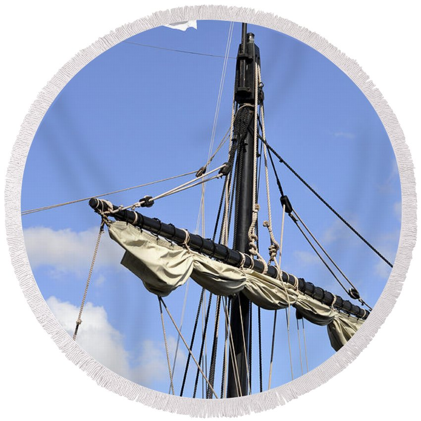 Vertical Round Beach Towel featuring the photograph Mast And Rigging On A Replica Of The Christopher Columbus Ship P by Sally Rockefeller