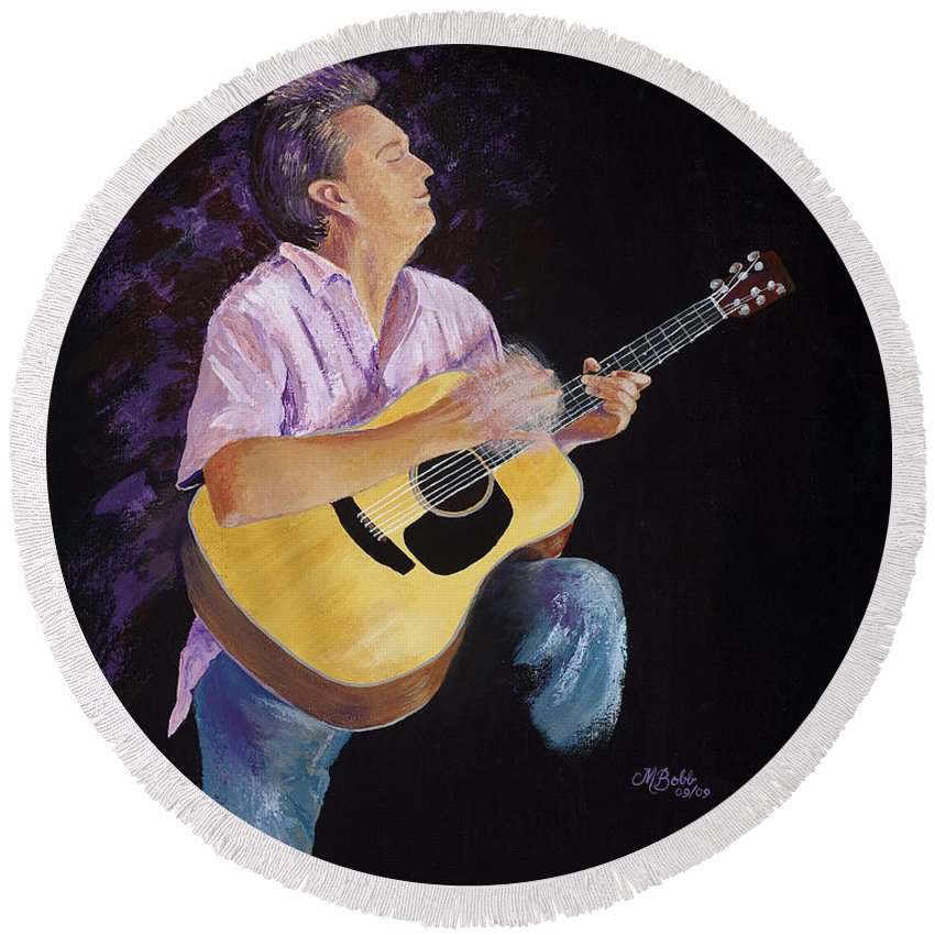 Music Round Beach Towel featuring the painting Master In The Spotlight by Margaret Bobb