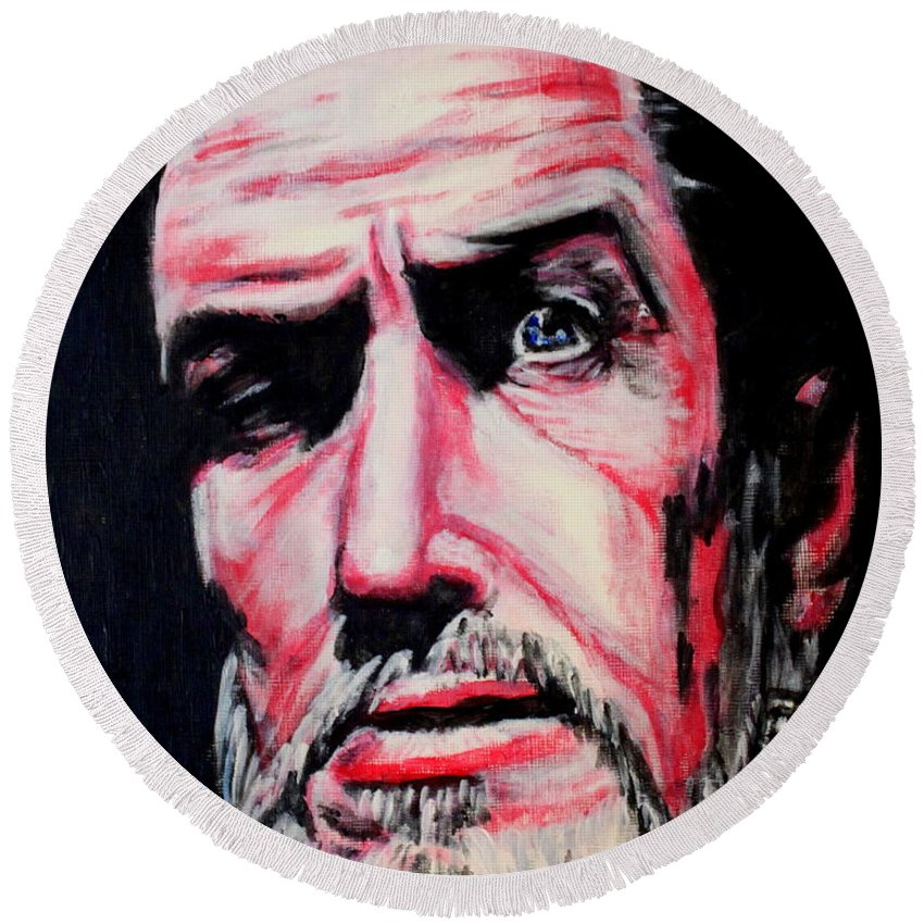 Vincent Price Round Beach Towel featuring the painting Master Of The Macabre-vincent Price by Keith Baugh