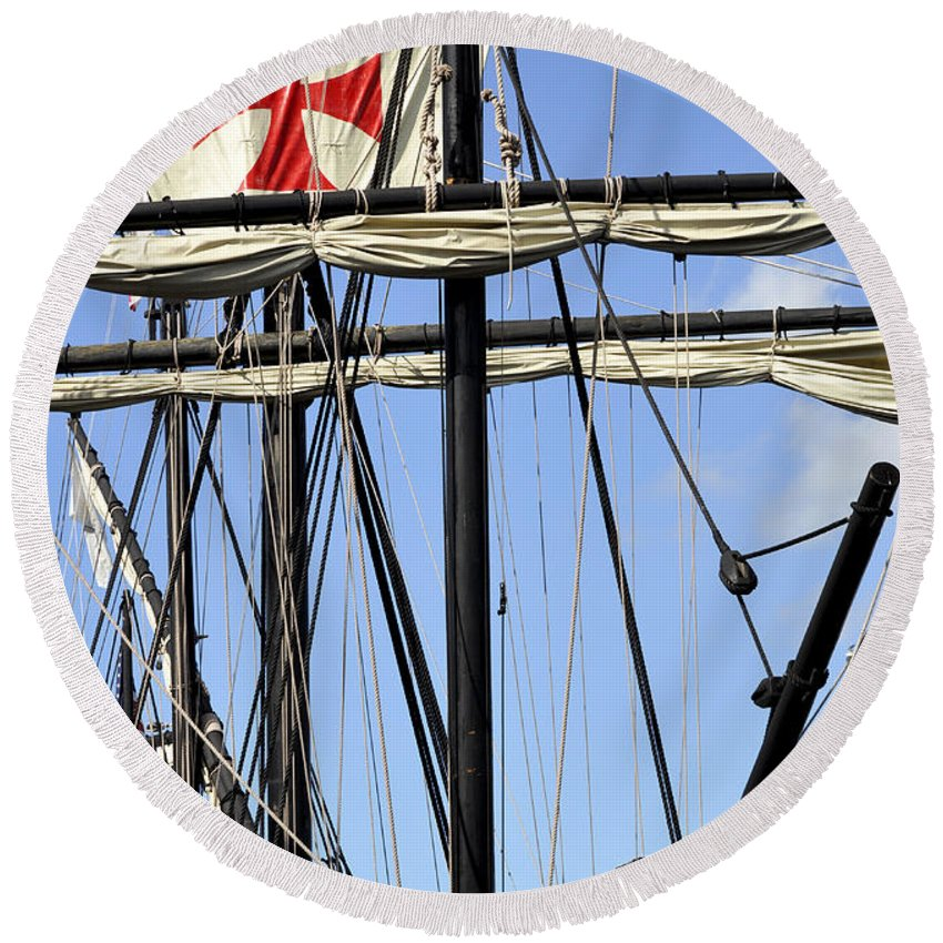 Vertical Round Beach Towel featuring the photograph Masts And Rigging On A Replica Of The Christopher Columbus Ship by Sally Rockefeller