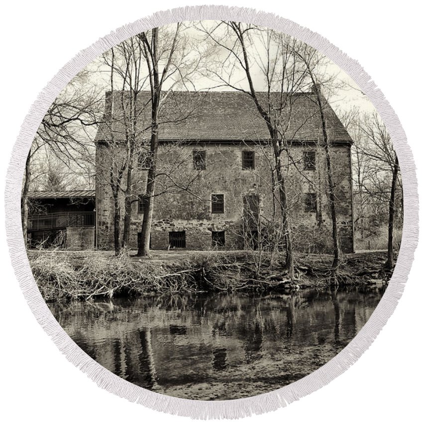 Mather's Round Beach Towel featuring the photograph Mather's Grist Mill by Bill Cannon