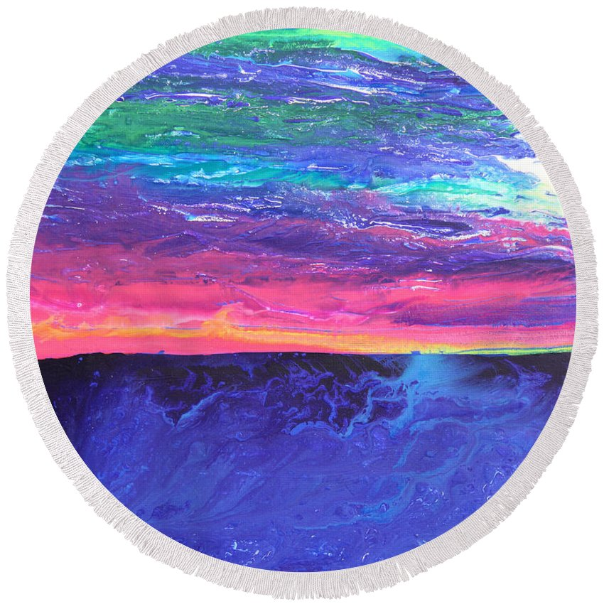 Fusionart Round Beach Towel featuring the painting Maui Sunset by Ralph White