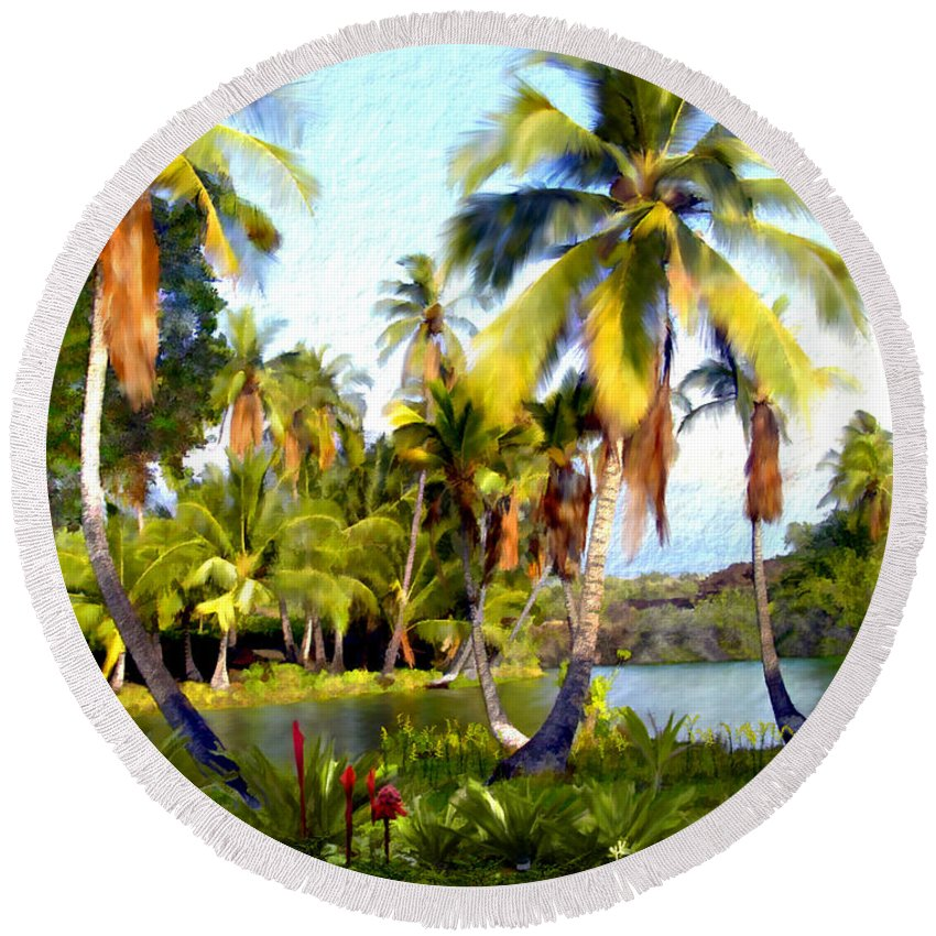 Hawaii Round Beach Towel featuring the photograph Mauna Lani Fish Ponds by Kurt Van Wagner