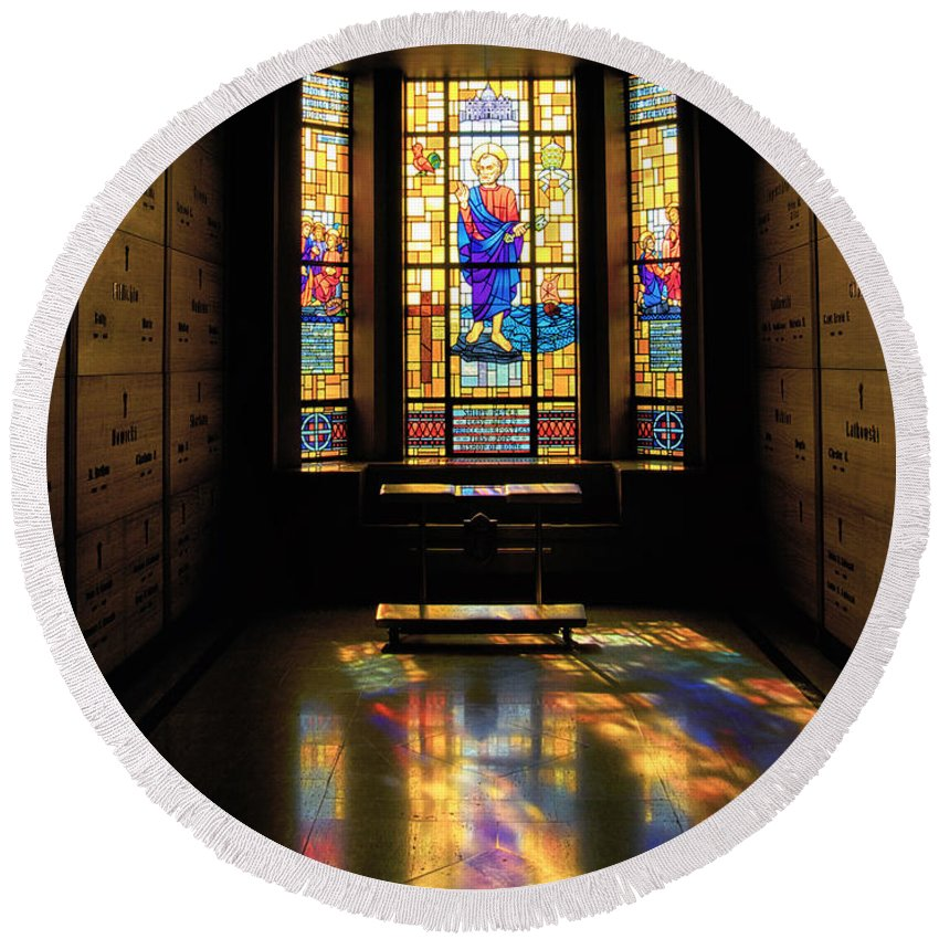 Glass Art Round Beach Towel featuring the photograph Mausoleum Stained Glass 06 by Thomas Woolworth