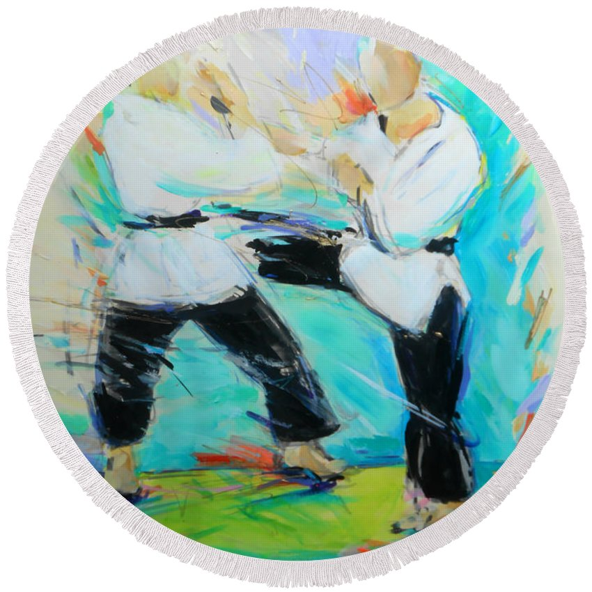 Mawashi Round Beach Towel featuring the painting Mawashi by Lucia Hoogervorst