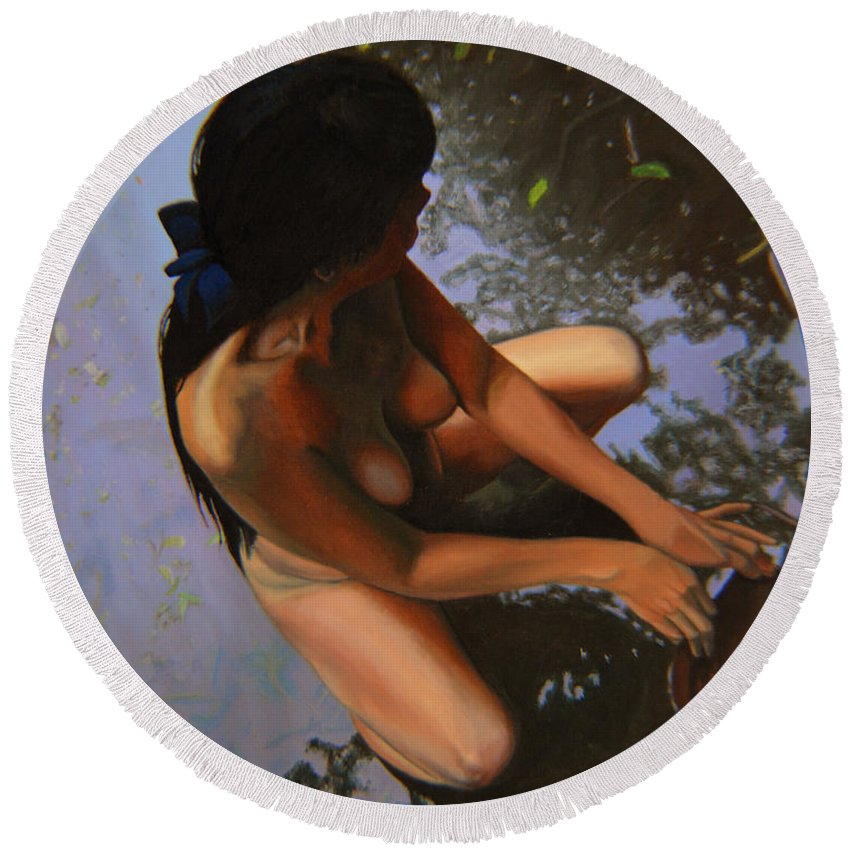 Figure Round Beach Towel featuring the painting May Morning Arkansas River by Thu Nguyen