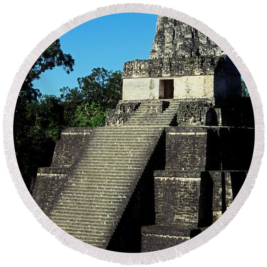 Guatemala Round Beach Towel featuring the photograph Mayan Ruins - Tikal Guatemala by Juergen Weiss