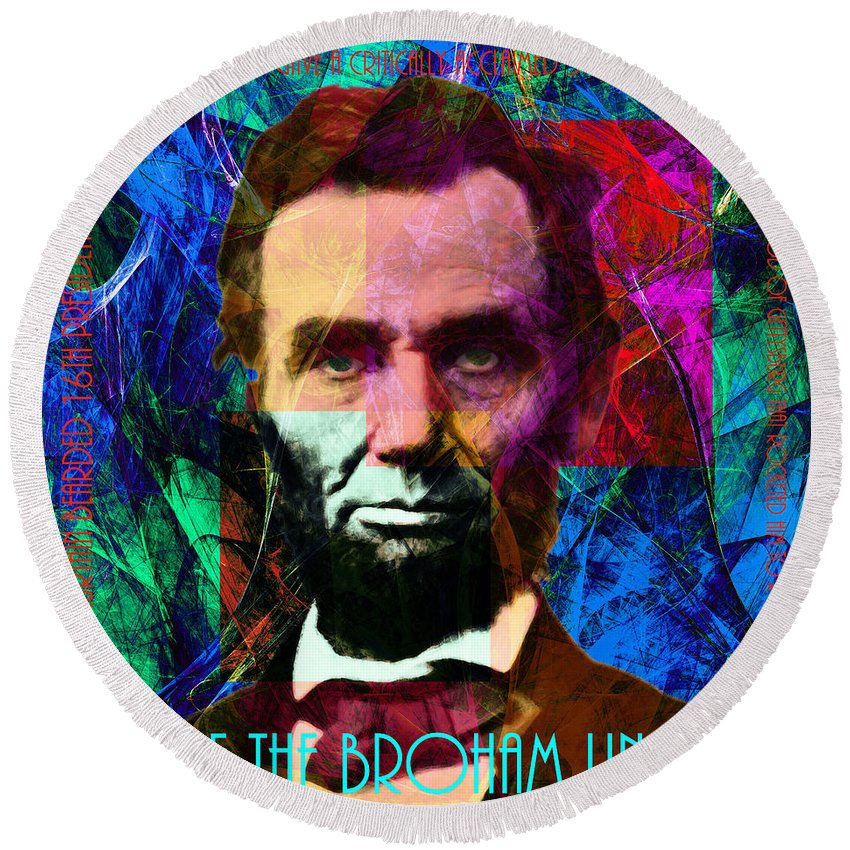 Celebrity Round Beach Towel featuring the photograph Mc Abe The Broham Lincoln 20140217p180 by Wingsdomain Art and Photography