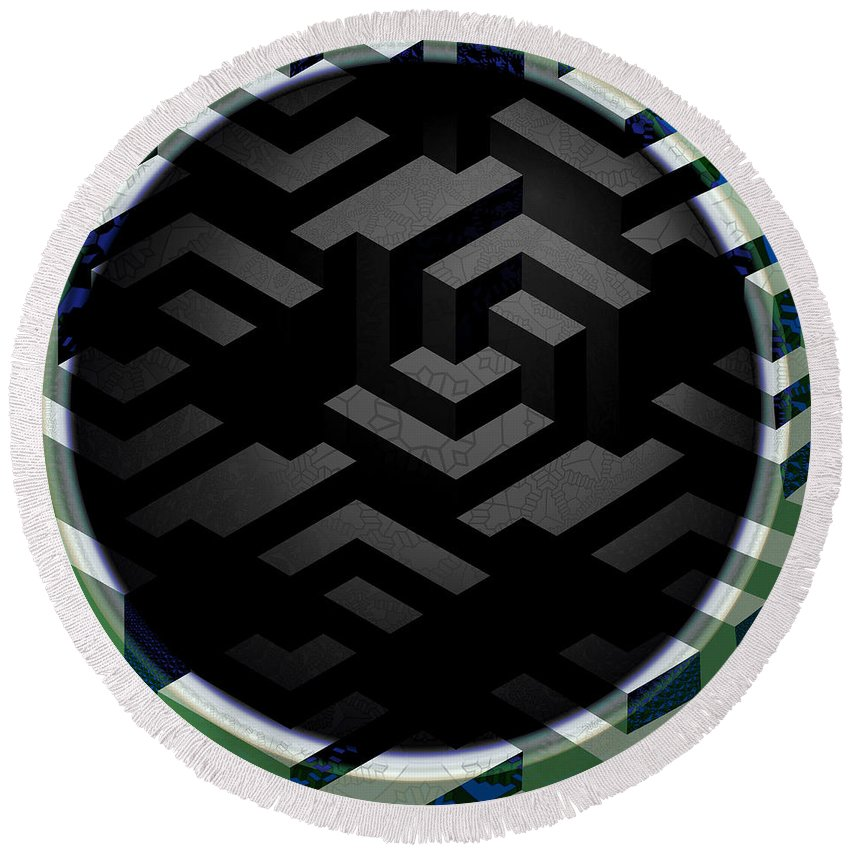 Mc Escher Round Beach Towel featuring the digital art Mc Escher by Kimberly Hansen