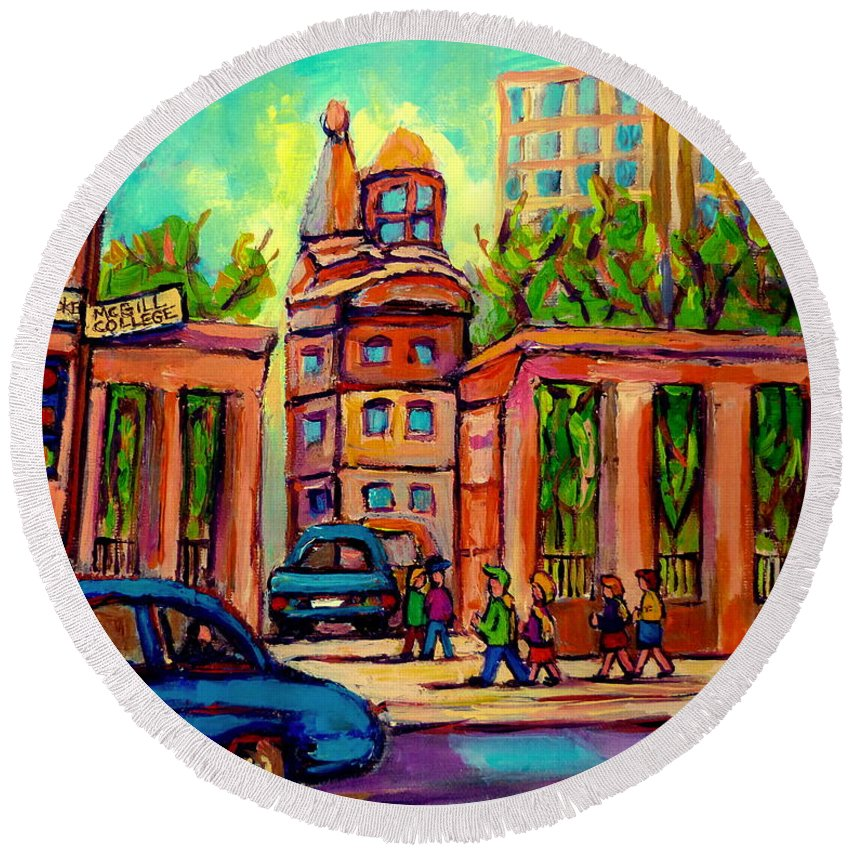 Mcgill University Round Beach Towel featuring the painting Mcgill University Roddick Gates Montreal by Carole Spandau