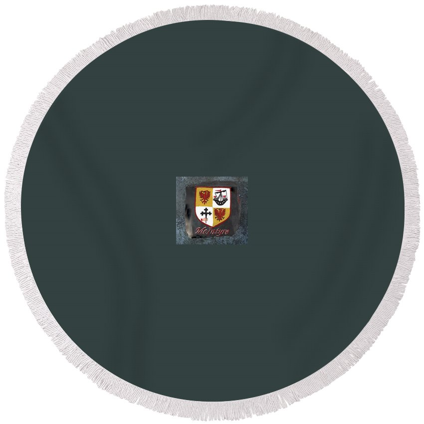 Family Shield Round Beach Towel featuring the painting Mcintyre Coat Of Arms by Barbara McDevitt