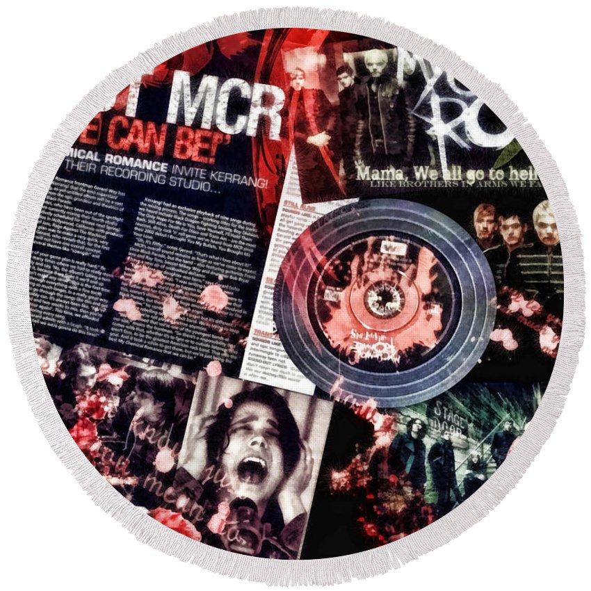 Mcr Round Beach Towel featuring the mixed media MCR by Mo T